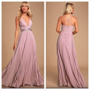 Lulu's Dusty Lavender Sequin Lace Pleated Dress
